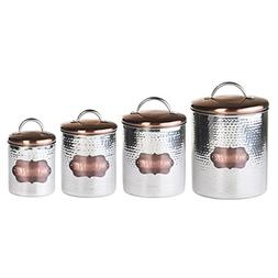 Global Amici Cucina Hammered Metal Canisters , Stainless Ste