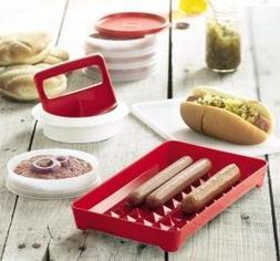 Hamburger Press and Hot Dog Keeper Set