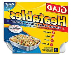 Glad Heatables with Lids, Reusable Aluminum Cooking & Storag