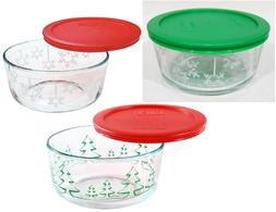 PYREX Holiday 1-Qt Stenciled TREES, Red or Green SNOWFLAKE C
