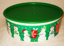 "Tupperware 9"" Holiday Snowman One Touch Cookie Canister 2013"