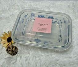 Kate Spade NOLITA BLUE Flower Clear Rectangular Glass Storag