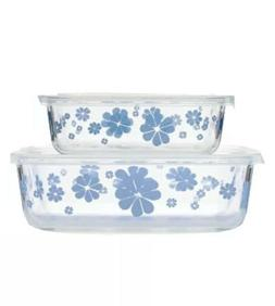 Kate Spade Nolita Blue Glass Food Storage Containers Set of