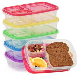 Premium Kids 5 Bento Boxes Divided Microwave Safe Lunch Left