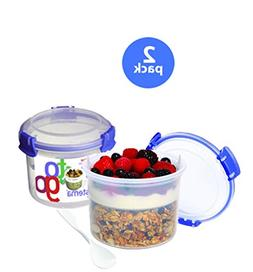 Sistema Klip It Breakfast to Go Container, 17.9-Ounce, Clear