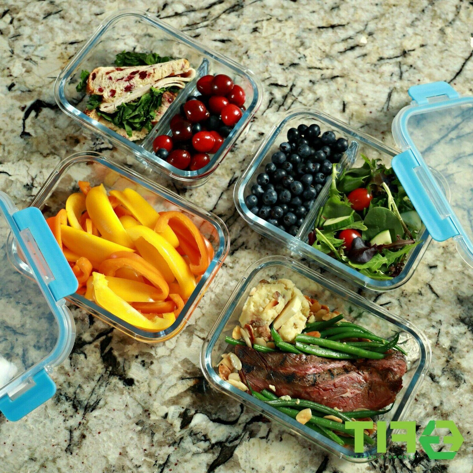 1 & 2 Glass Meal Prep Storage Containers