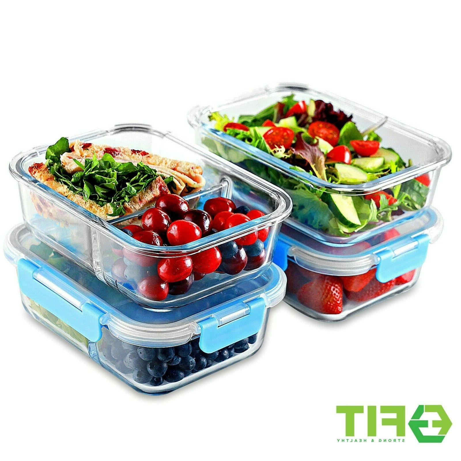 1 2 Compartment Glass Storage Containers