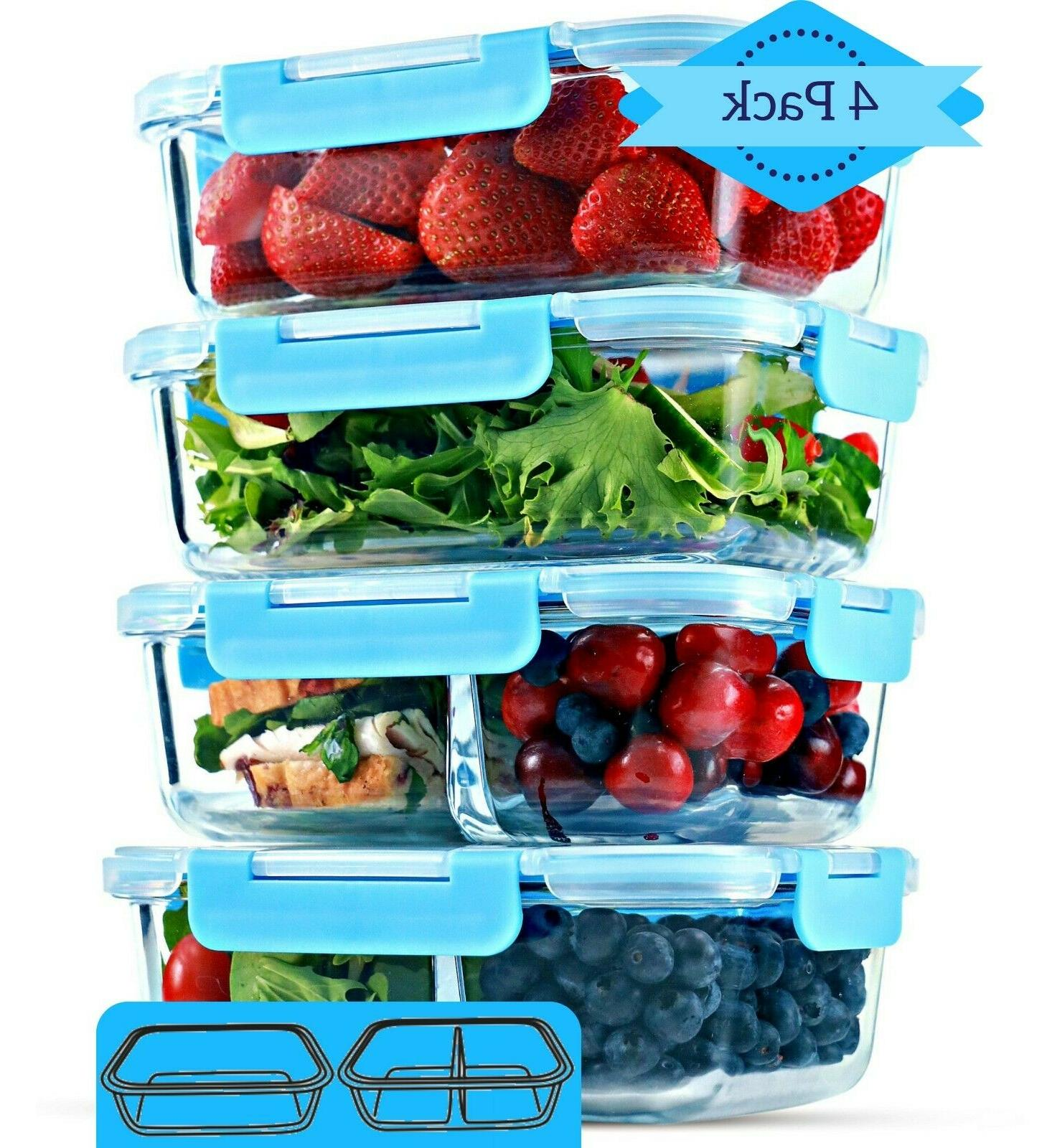 1 and 2 compartment glass meal prep