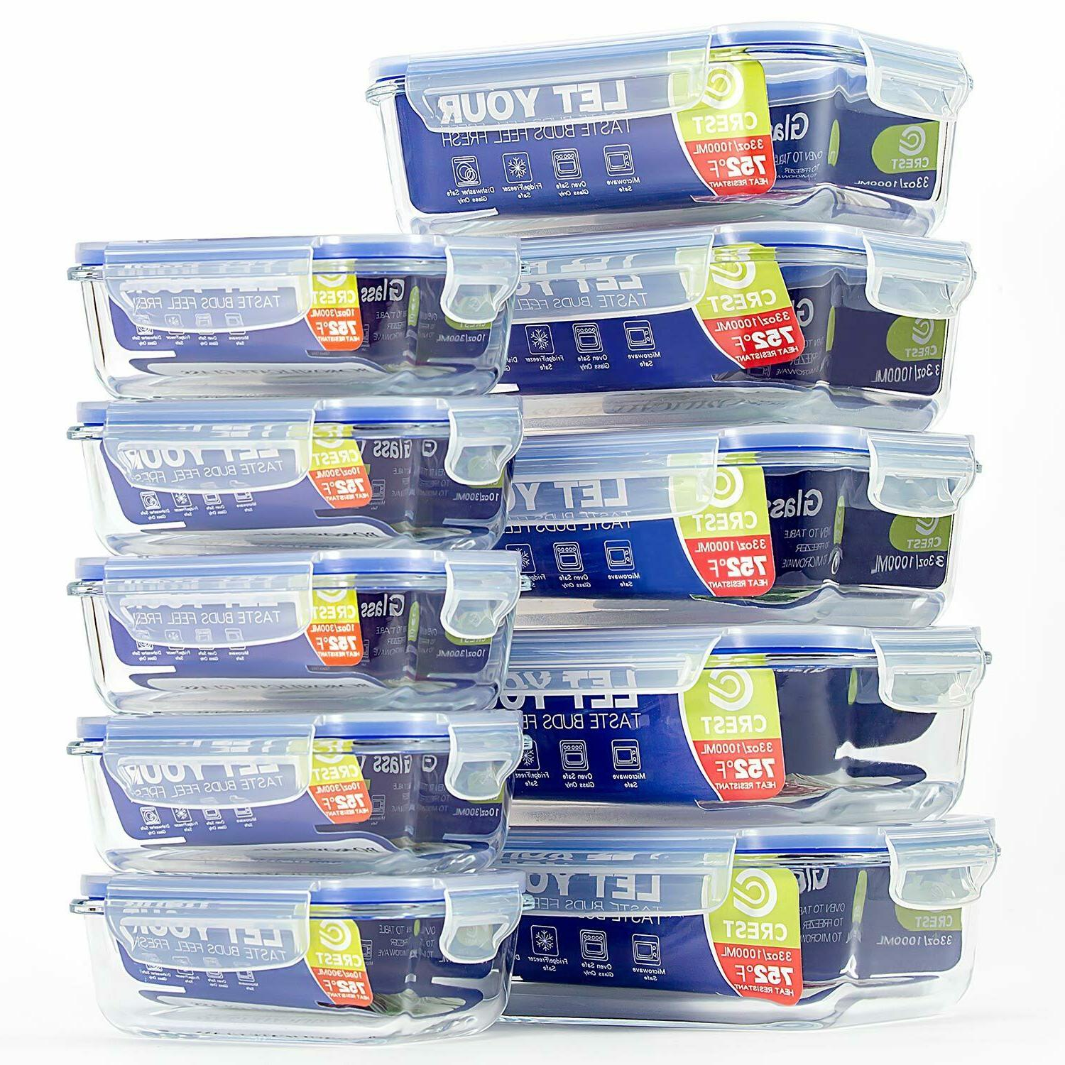 10 pack glass container with airtight lids