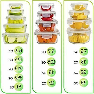 13-Pack Glass Storage Lids Prep Lunch Kitchen