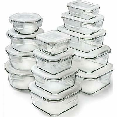 13 pack glass storage containers lids food