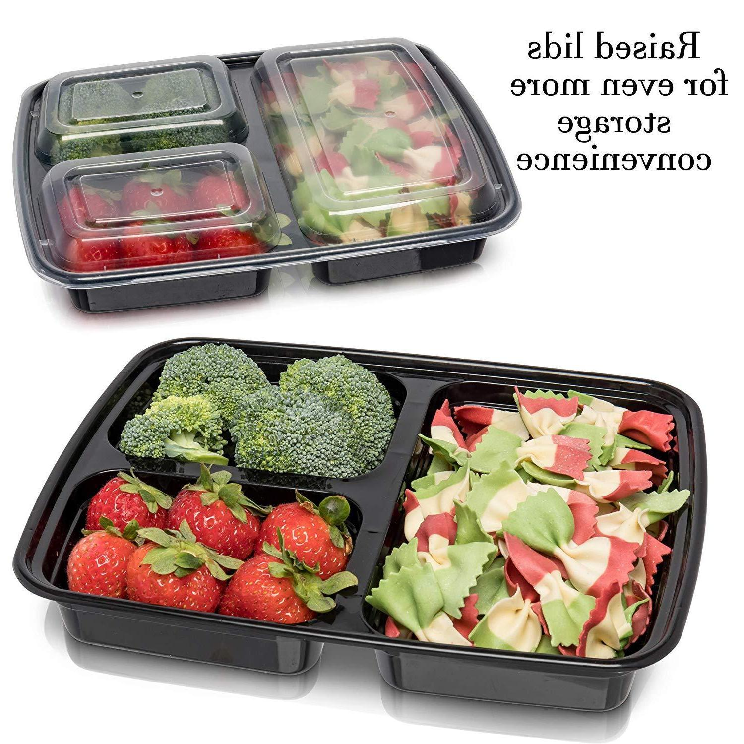 20 Pack Meal Prep Containers Storage Compartment Reusable Microwave Safe