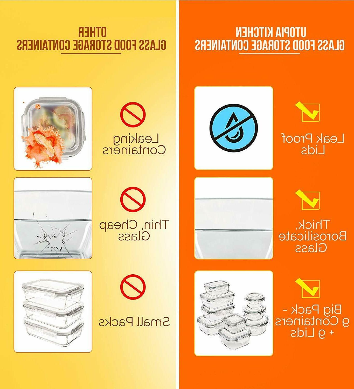 18 Storage Container with Airtight Lids Kitchen
