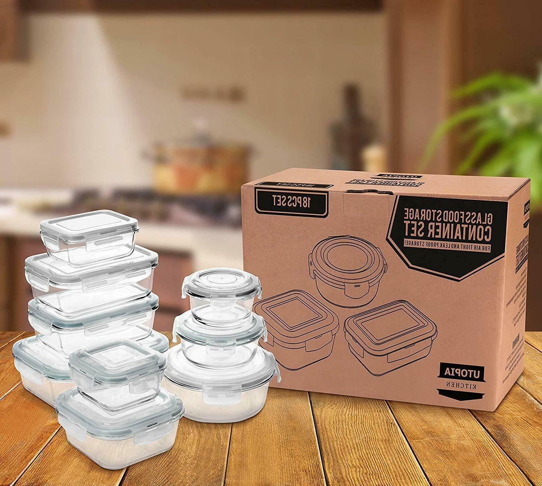 18 Pieces Storage Container set Airtight Lids Kitchen