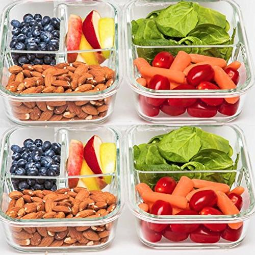 2 Glass - Food Storage with BPA Food Prep Containers, Box, Lunch Box, Control, Airtight