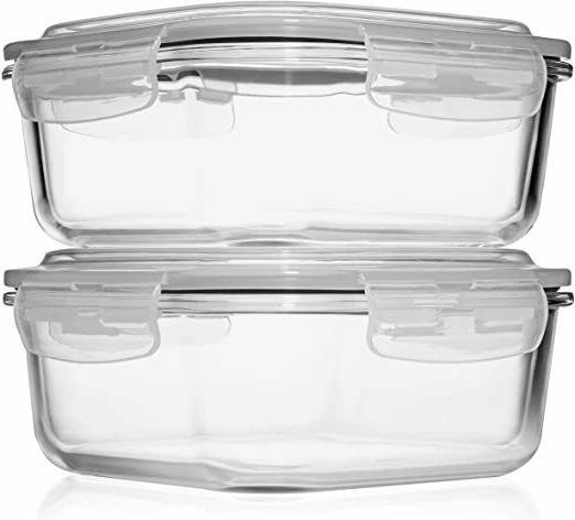 2 42 Oz Storage Containers w/Airtight Lids