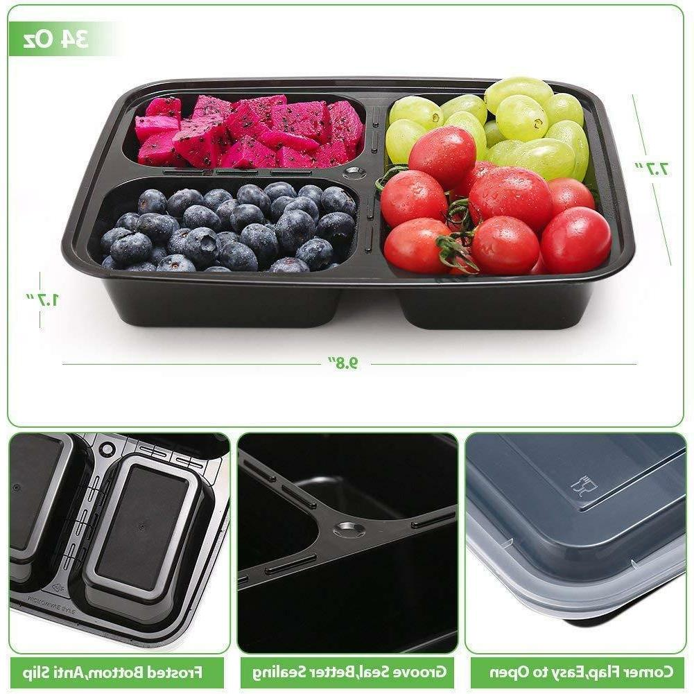 20 Pack Containers Food Storage 3 Compartment Reusable Microwave