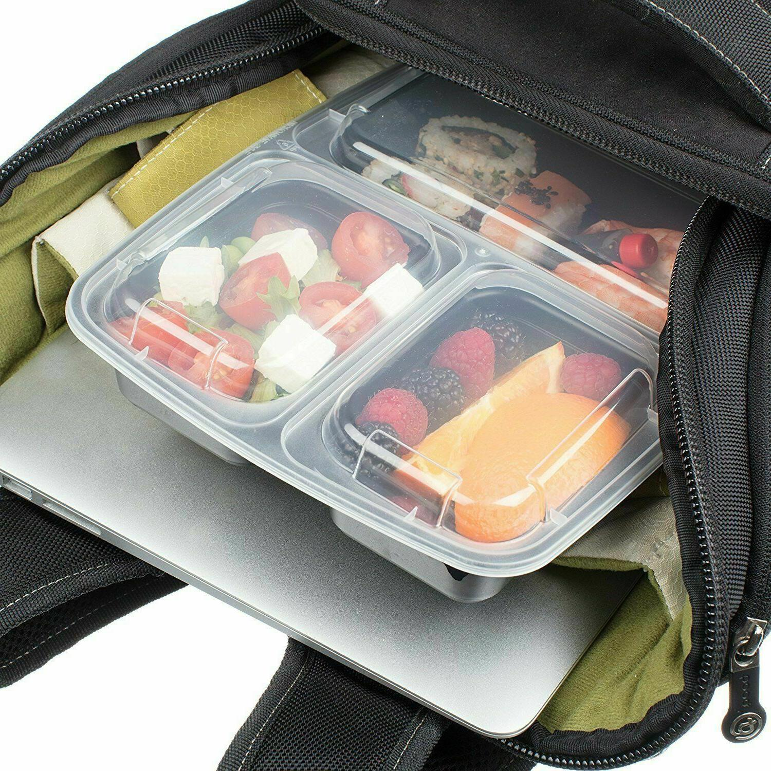 20 Meal Containers Food Storage 3 Compartment Microwave Safe