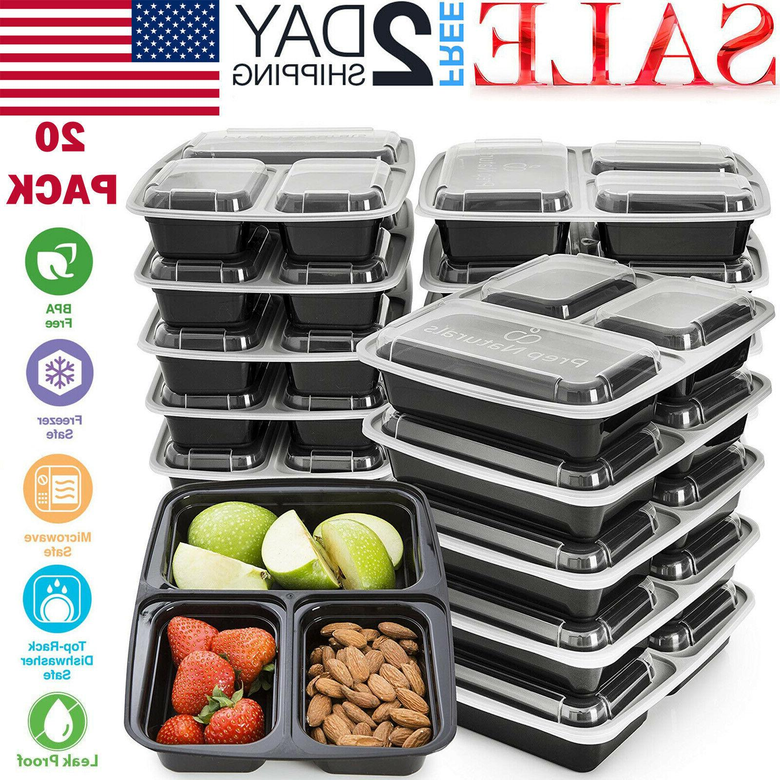 20 pack meal prep containers 3 compartment