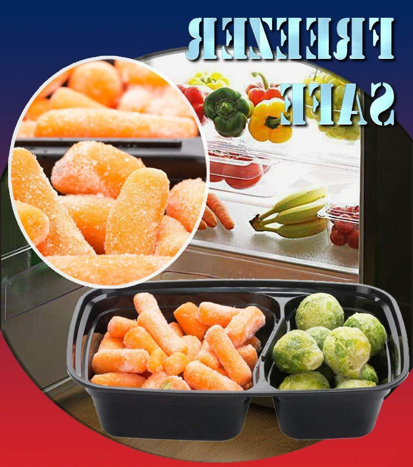 20 Meal Containers Food Microwave Safe 2 Compartment