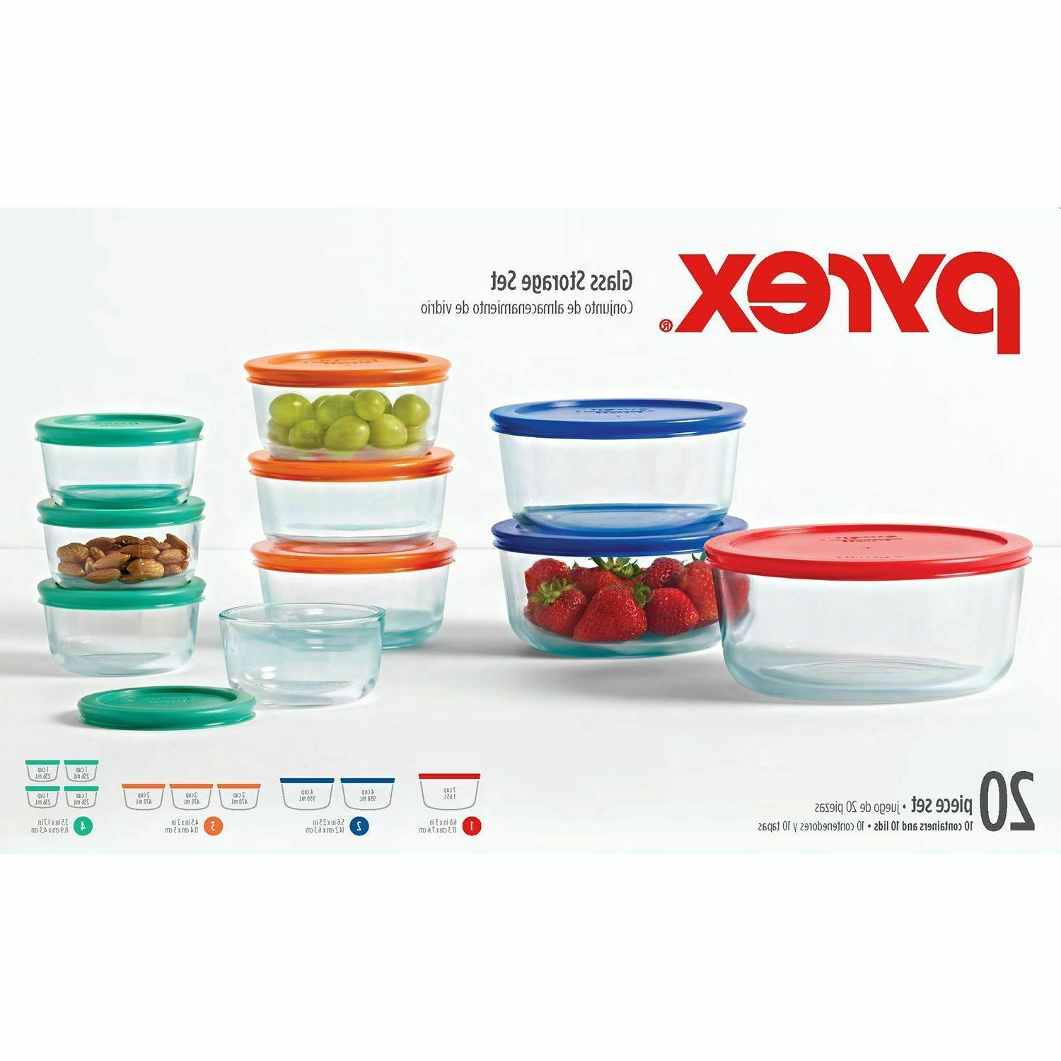 Pyrex 20-Piece Glass Storage Set with lids,New-Free Shipping