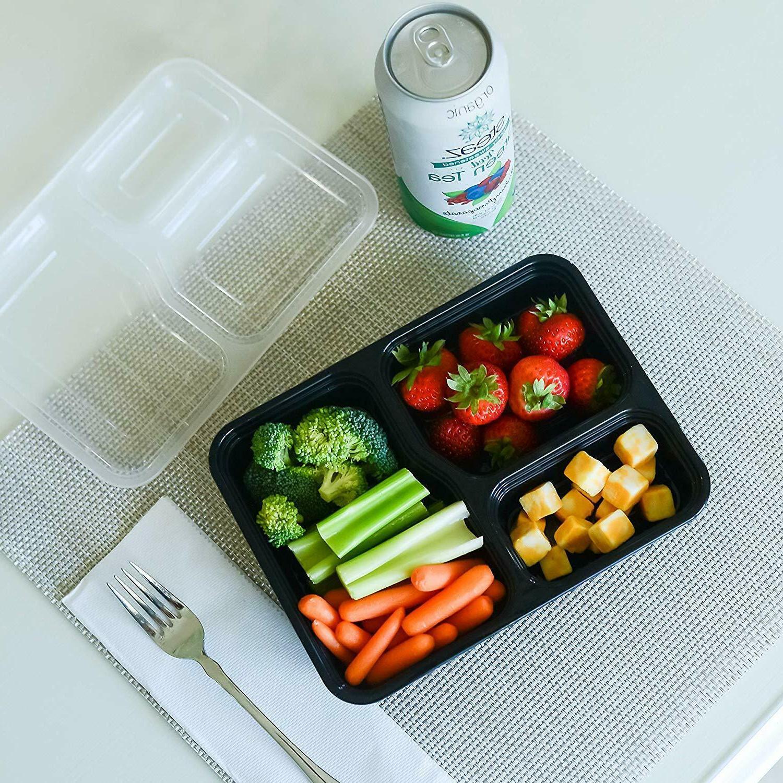 20Pcs Prep 3 Food Storage Reusable Plastic
