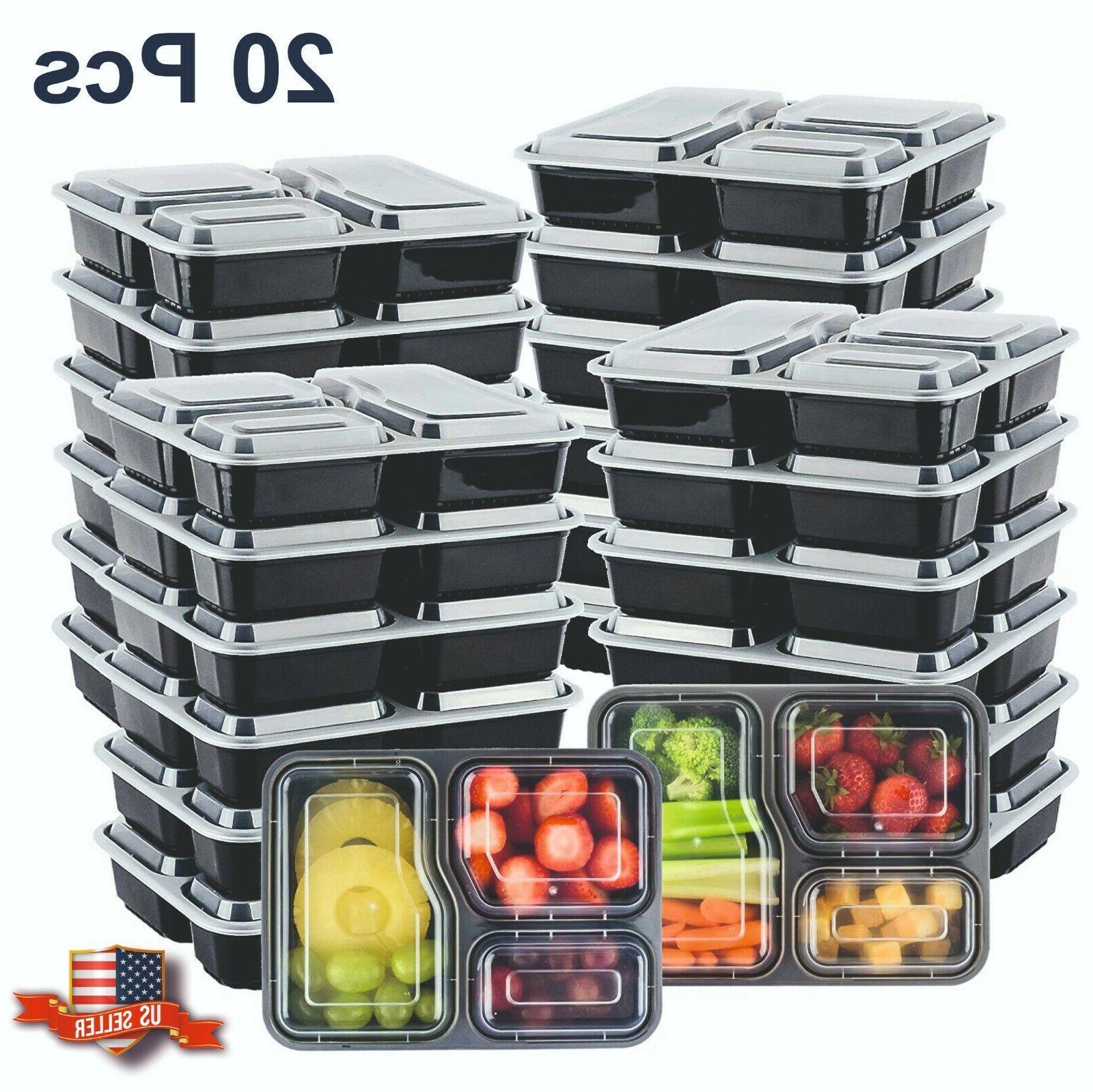20Pcs 3 Compartment Reusable Microwave