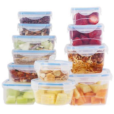24 pcs plastic food storage containers set