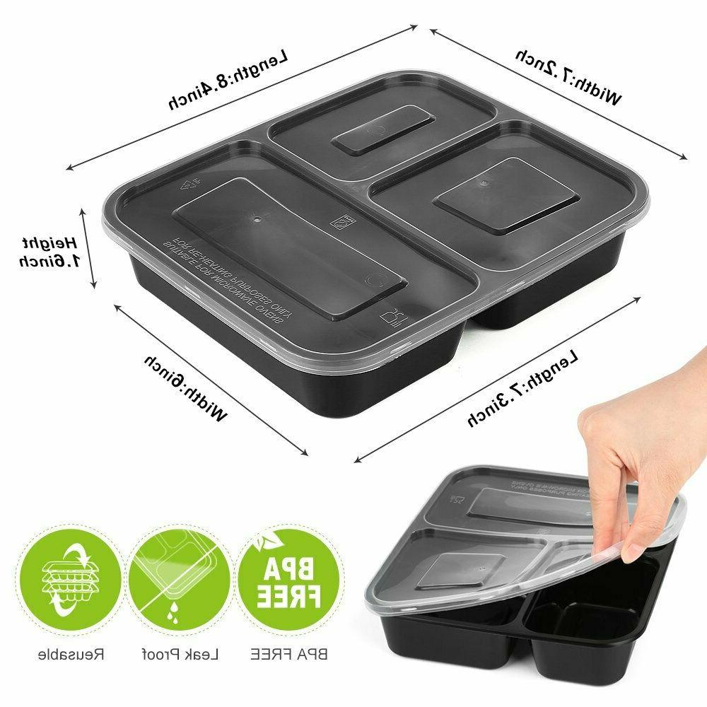 25 Pack 3 Compartment Meal with Reusable