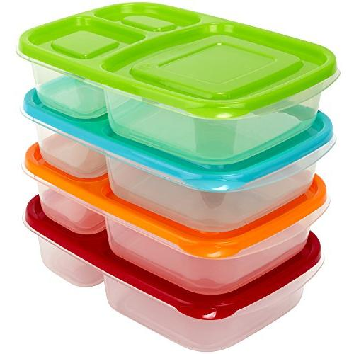 3 Compartment Containers - Reusable Bento Lunch box & Divide