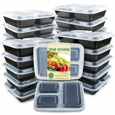 Enther Meal Prep Containers  3 Compartment with Lids, Food S