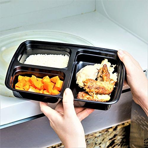 Green 3 Compartment Meal containers/Large Container Box,