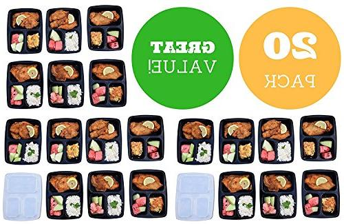 Meal Containers Compartments, oz, Storage Bento BPA Microwave/Dishwasher/Freezer