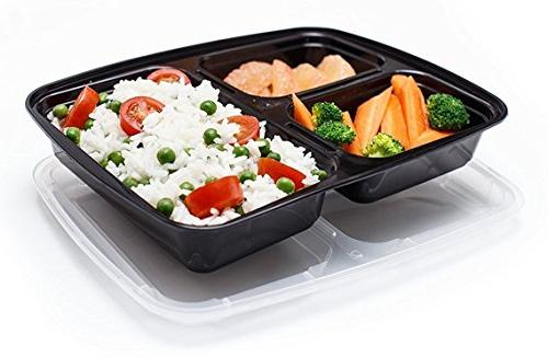 Meal Containers Compartments, oz, Storage Bento Box BPA Free | Reusable Lunch Microwave/Dishwasher/Freezer