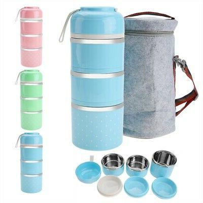 3 Layers 1680ml Portable Thermal Lunch Box Food Storage Cont