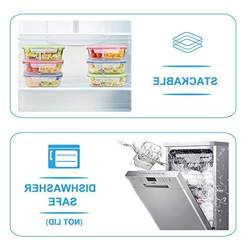 RENPHO Prep Bento Box Containers Food Storage Airtight - Microwave,Oven,Freezer,Dishwasher Safe