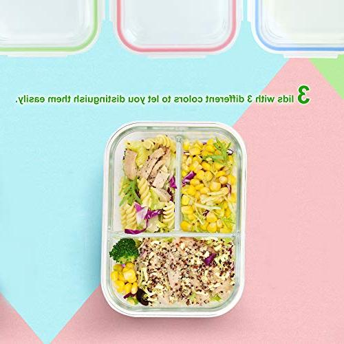 RENPHO Glass Containers Bento Food Storage Airtight Lunch - Microwave,Oven,Freezer,Dishwasher