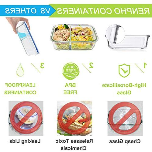 RENPHO Containers - Bento Box Containers Food Airtight -