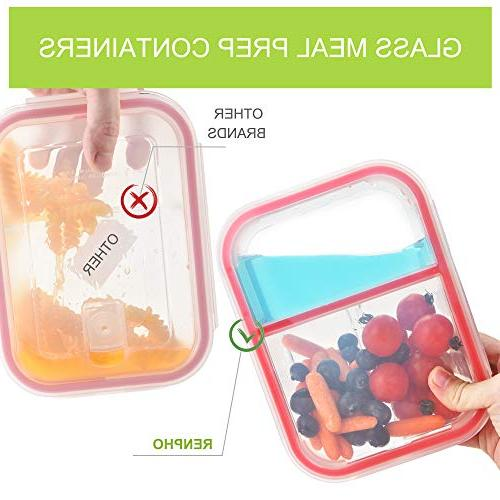 RENPHO Glass Containers 3 Compartment Bento Box Food Airtight Lids - Microwave,Oven,Freezer,Dishwasher Safe