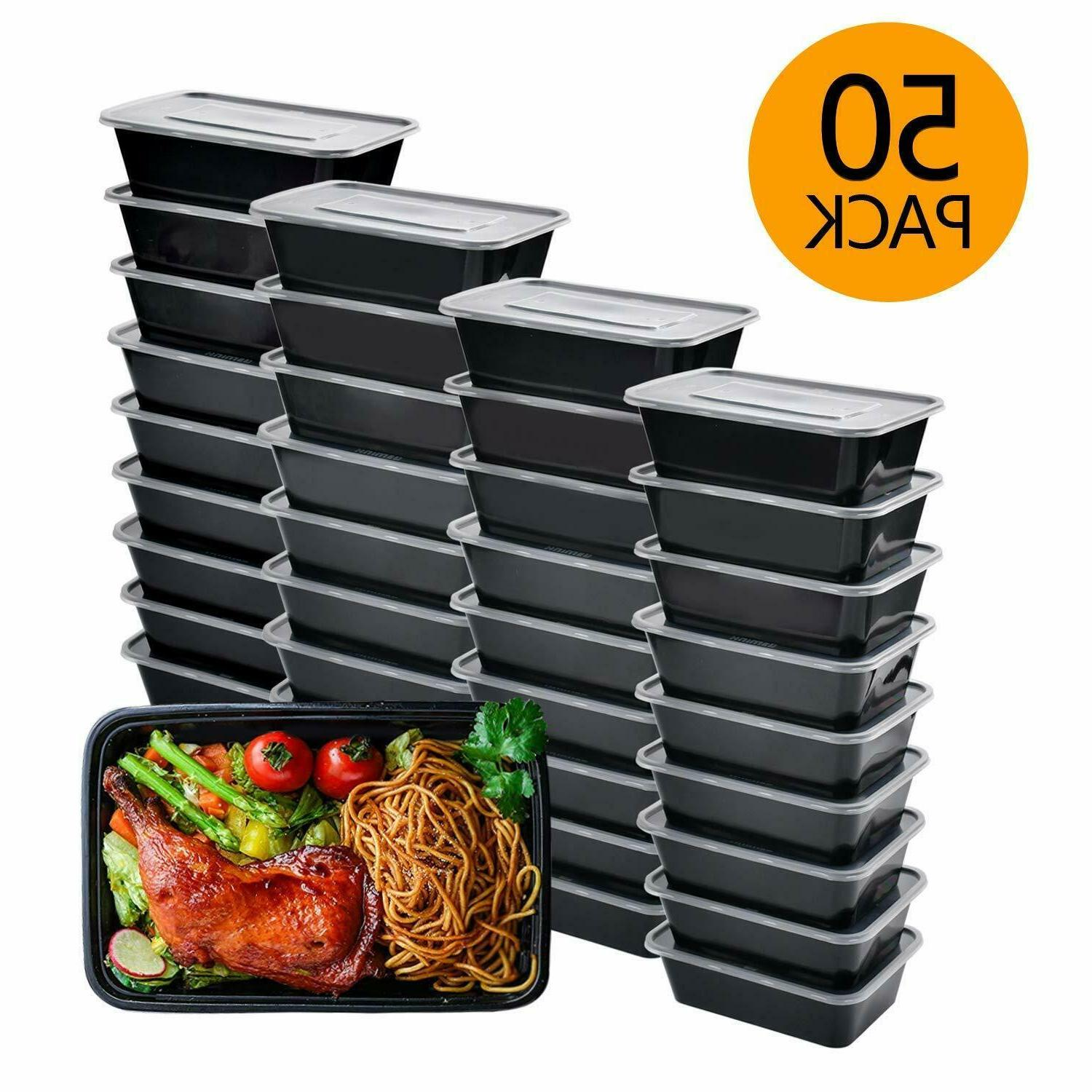 50 Meal Containers 1 Boxes Reusable Microwave