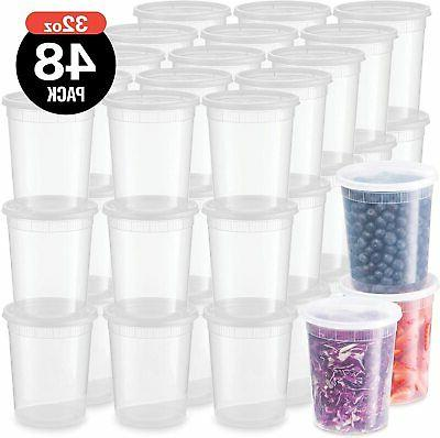 48 pack plastic deli food storage containers