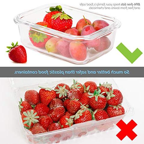 Meal Containers Glass Storage - Great for and Glass Storage Containers with BPA-Free Locking Elacra
