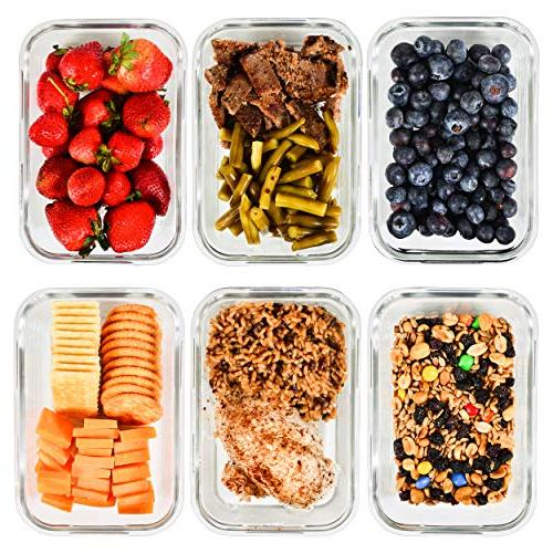 Meal Containers - Glass Storage for Portion Control and Prep Glass BPA-Free Locking Lids Elacra