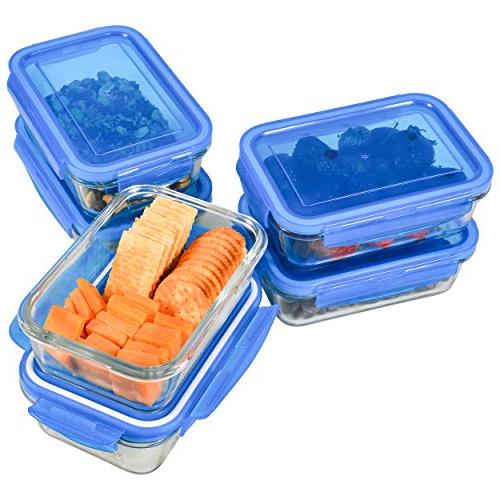 Glass Prep Containers Glass Storage Containers for Lunch Portion Control and Prep - Glass Storage BPA-Free Locking Elacra