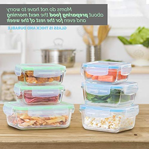 Glass Meal Prep Containers Glass Storage - and Prep Glass BPA-Free Elacra