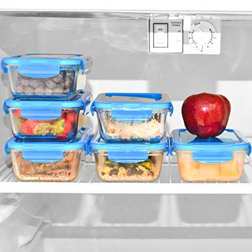 Glass Containers - Glass Food Storage for Lunch Portion and Prep - Glass Storage BPA-Free Elacra