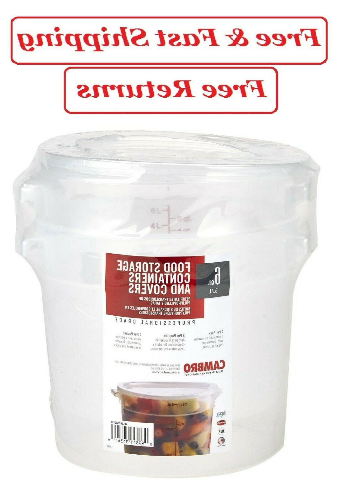 Cambro RFS6PPSW2190 6-Quart Round Food-Storage Container wit