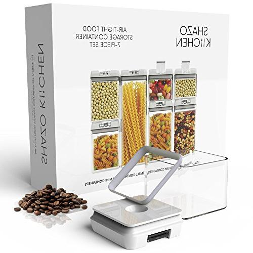 Shazo Container for Food Storage - 7 18 Chalkboard & Marker - Heavy Duty BPA Free - Airtight Storage Plastic Interchangeable