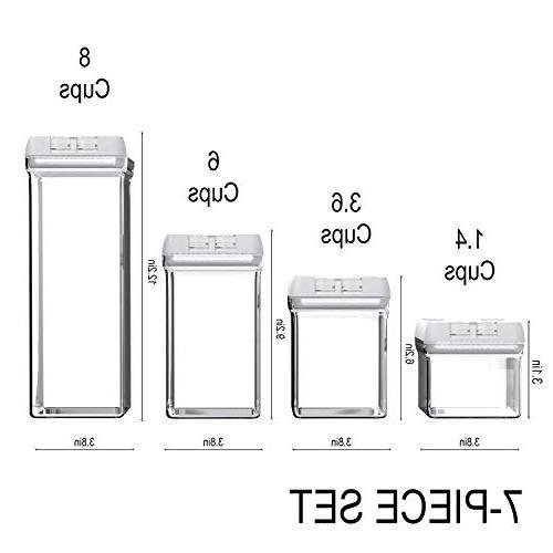 Shazo Container Set for Storage 7 Piece 18 Marker Heavy Duty BPA Plastic Airtight Plastic Interchangeable Lock Lids