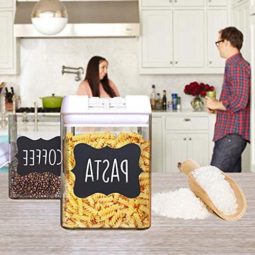 Shazo Airtight for 7 Piece Set + 18 Labels Marker Heavy BPA Plastic Airtight Plastic Interchangeable Lids